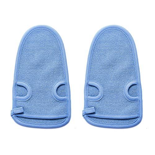 2 Stück Natur Peelinghandschuh aus Pflanzenfaser,reinigt porentief,Körper Scrubber, Massagehandschuh,Premium Wellness Handschuh,Für Körperpeeling & Massage (Blau)