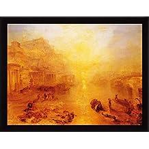 Joseph William Turner Póster Impresión Artística con Marco (Madera DM) Negro - Ovidio Desterrado De Roma, 1838 (80 x 60cm)