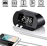 Radiowecker, FM Radiowecker Digital mit Zwei USB Ladeanschlüssen, Hospaop Digitaler Wecker,Reisewecker, Dual-Alarm,6 Helligkeit,7 Alarmtöne mit 16 Lautstärke für Schlafzimmer,Kind,Büro -