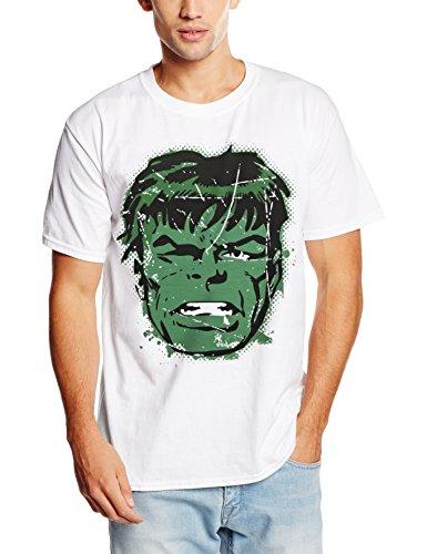 Marvel Comics - Hulk Big Head Distressed, t-shirt Uomo, Bianco, Large