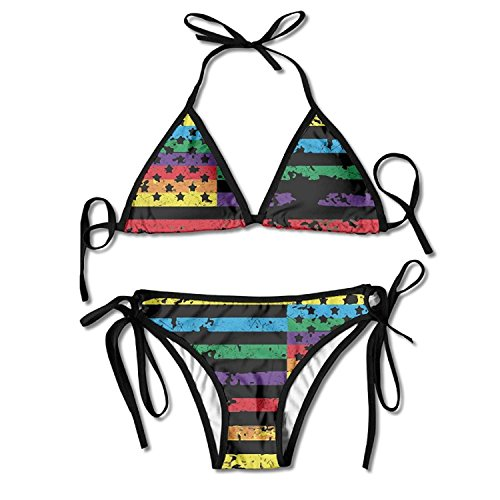 Fashion Womens Sexy Padded Bikini Set Rainbow American Flag Gay Lesbian LGBT Pride Printing Adjustable Swimsuit 2 Piece (Elastic Double Pull)