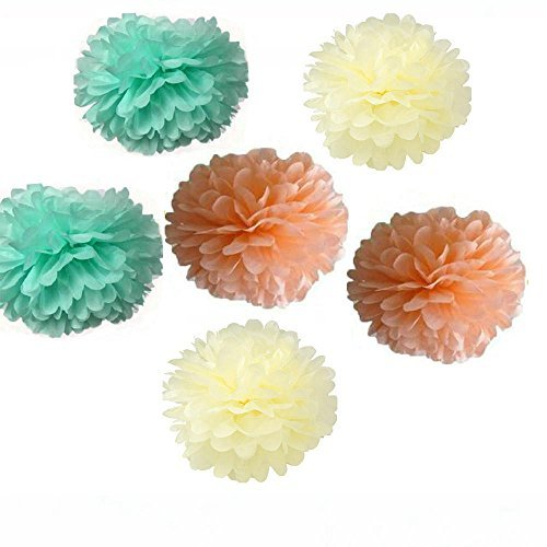 Since ® 12pcs 10 inch 8inch Tissue Paper Pom-poms Cream Mint Peach Outdoor Decoration Tissue Paper Pom Poms Party Balls Wedding Christmas Xmas Decoration(Cream Peach Mint) by Since