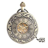 Lekima Pendant Pocket Watch Roman Numeral Engraved Pattern Skeleton Mechanical Movement Automatic Clamshell Single Alloy Chain Classical Gift For Men Women