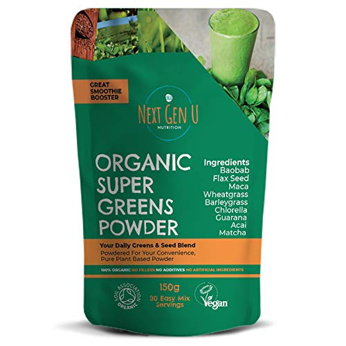 Next Gen U | Green Superfood Smoothies Grünes Pulver 150g | Vegan Green Detox Nahrungsergänzungsmittel | Gesundes Powerfood | Über 20{09d4bc4d6c5593fb949c3430260083a3e0eafd67c7546c689828ca7d2a8c41cd} Protein | Acai Chlorella Matcha Maca | Fokus & Immunsystem Schutz