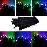 MAJGLGE Fashion LED Multicolor Light Fingerspitzen-Handschuhe halten warm Bühnen-Leistung – Schwarz + Weiß