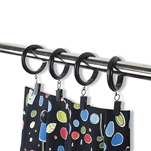 Rack & Haken Deko Vorhang Clip & Ringe mit Clips-PREMIUM QUALITÄT Kunststoff, plastik, schwarz, 1.5 Inches