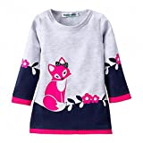 AILEESE Winter Baby Girls Dress Long Sleeve Cute Fox Christmas Princess Printing Skirt Children Kids Clothes
