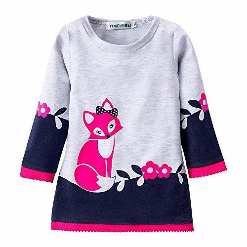 d Langarm niedlichen Fuchs Weihnachten Prinzessin Druck Rock Kids Kinderkleidung (Weihnachtsbaum-kostüm Für Kleinkind)