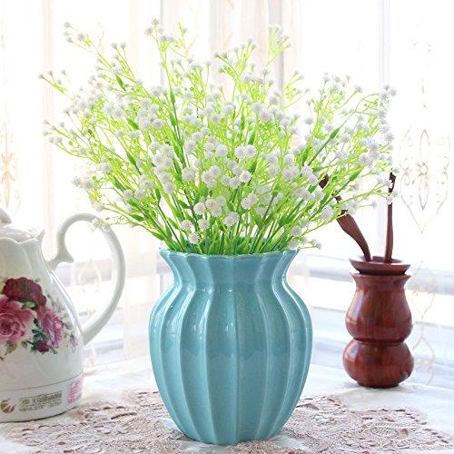 XIN HOME Simulation künstlichen Blumenstrauß Set Wohnzimmer Dekoration Indoor Möbel europäischen Fake Blumen Home Schmuck Kunststoff Blumen, Topfpflanzen, Weiß B Blau +5 Sky Star Gras (Indoor-gras Fake)