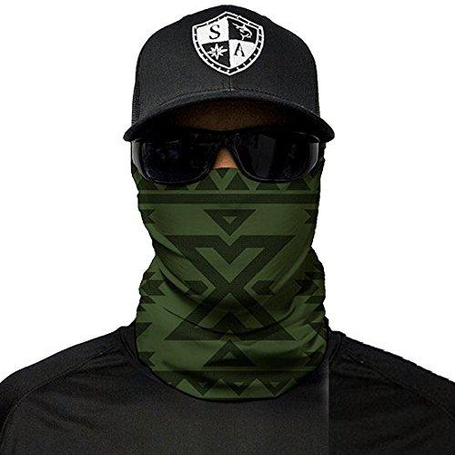 SA Fishing Face Shields ** 40+ Designs verfügbar ** Qualitäts Bandana / Multifunktionstuch / Schlauchtuch / Halstuch aus Stoff & SPF 40 - Face Masks von SA Company, Aztec | Dark Olive Green
