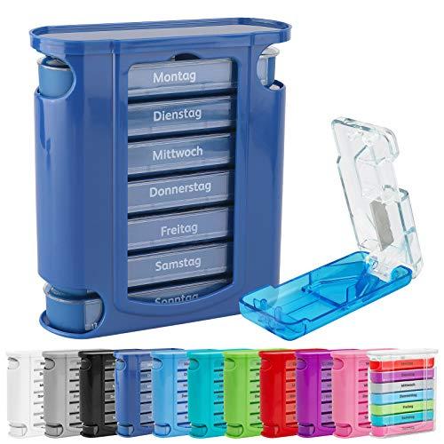 WELLGRO® Tablettenbox für 7 Tage mit Tablettenschneider - je 4 Fächer pro Tag mit Tageszeiteinteilung - Farbe wählbar, Farbe:Dunkelblau
