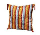 40 cm x 40 cm Weiß,Rot,Gelb,Orange,hell Blau,Kissenbezug,Kissenhülle,Orientalische Dekokissen,Orientalische Stoffe,Damaskunst S 2-2-4017