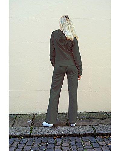 For my Love Fashion Tuta da donna in velluto con cappuccio e pantaloni da jogging taglia dalla 40 alla 52, marca eccezionale, 80% cotone, 20% poliestere Green