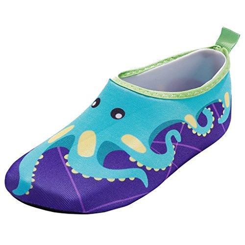 JACKSHIBO Unisex-Kinder Wasserschuhe Jungen Strandschuhe Aqua Schuhe Mädchen Schwimmschuhe Surfschuhe Badeschuhe, Kinder XS(EU 24-25)=140-150MM, Farbe: Blue/1