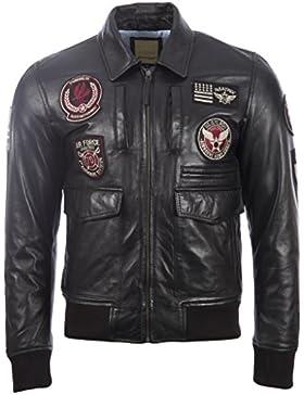 La chaqueta de cuero super-suave genuina ultra-elegante de los hombres 100% con las divisas de la aviación por...