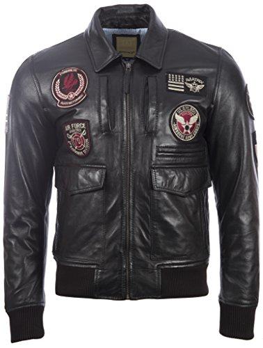 Mens Ultra-stilvolle 100% echte super weiche Leder Bomber Jacke mit Luftfahrt-Abzeichen von MDK (Bomber Leder)