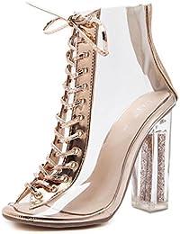 HN Shoes Señoras Encajes Fornido Tacón Sandalias para Mujer CLORURO DE POLIVINILO Transparente Alto Tacón Zapatos...