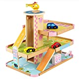 Aiya Parkhaus, Holzspur 3 Storey Toy Garage Wooden Parking Lot Rail Car Toy für 3-12 Jahre alte Kfz-Werkstatt Holzparkgarage Playset mit Zubehör