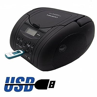 Lauson Lecteur CD/MP3, radio FM Portable stéréo PLL, lecteur USB, écran LCD, Noire de Lauson