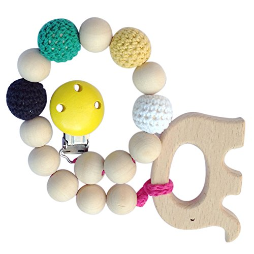 CHIC-CHIC Baby Organic Wooden Teething Ring Beads Teethers Teething Toys Pacifier Toddler Dummy Soother Chains 51Cjt UIRNL