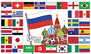 Wm Fussball Flagge Mit Allen Nationen Fahne 90x150cm