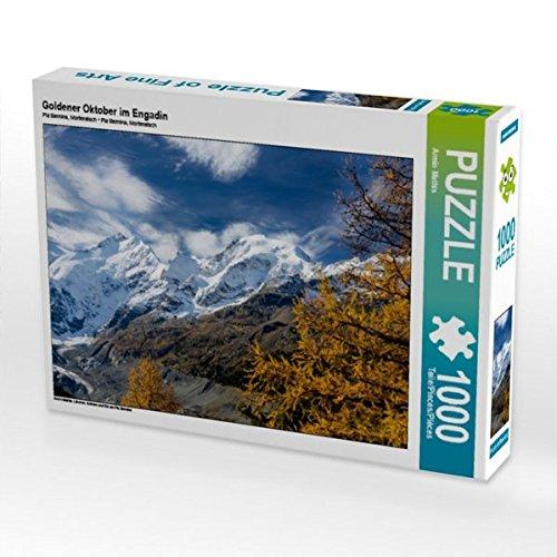Preisvergleich Produktbild Goldener Oktober im Engadin 1000 Teile Puzzle quer: Lärchen, Schnee und Eis am Piz Bernina (CALVENDO Natur)