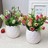 HUAYIFANG Emulation Emulation Rose Rose Töpfe Von Bonsai Silk Flower Keramik Topfpflanzen Kleine Rose Im Wohnzimmer