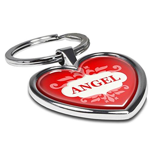 digital print Schlüsselanhänger mit Namen Angel - Motiv Ornamente - Herz-Schlüsselanhänger, Namensschlüsselanhänger, personalisierter Anhänger, Herz-Anhänger, Chrom
