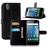 Ycloud Tasche für Acer Liquid Z630 Hülle, PU Ledertasche Flip Cover Wallet Case Handyhülle mit Stand Function Credit Card Slots Bookstyle Purse Design schwarz