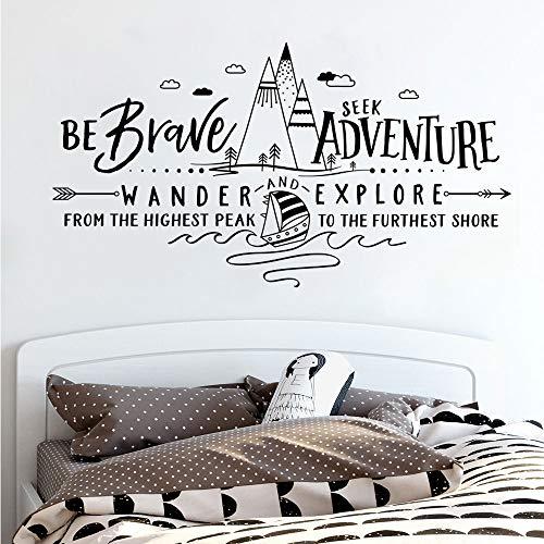 Qthxqa Berge Wand Vinyl Aufkleber Abenteuer Kinderzimmer Wandaufkleber Zitat Seien Sie Mutig Suchen Abenteuer Wandern Und Erkunden Sie Wandbild 1234