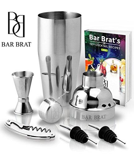 5 Piece Deluxe 24 Oz. Cocktail Shaker Bar Set by Bar Brat ? / Bonus 130+ Cocktail Recipes (ebook) / Jigger, 2 Pour Spouts, Waiters Corkscrew / Mix Any Drink To Perfection