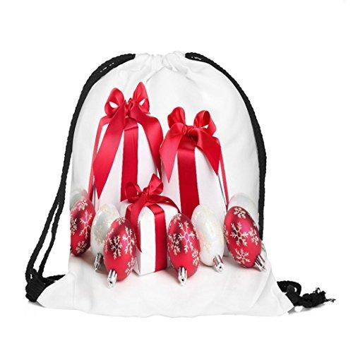 Longra Tessuto di Natale del Babbo Natale del tessuto di tema di natale Buon Natale di stampa del sacchetto del Drawstring H