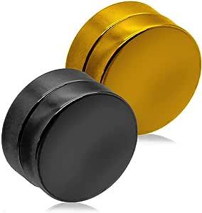 tumundo Orecchini Calamita Magnetico Finto Plug Fake Tunnel Piercing Magnete 6 8 10 12mm Foro Non Necessario Bianco Nero