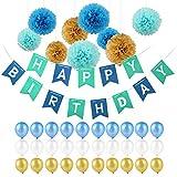 Kindergeburtstag Deko,Geburtstag Dekoration Set,Pomisty Happy Birthday Dekoration 40 Stücks mit 9 Tissue Papier Pom Poms + 30 Große Geperlte Ballons + 1 Happy Birthday Wimpelgirlande für Mädchen und Jungen Jeden Alters (Blau)
