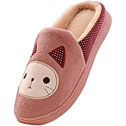 Minetom Mujeres Niñas Otoño Invierno Zapatillas Suave Felpa Zapatillas Cartoon Gato Algodón Zapatos Rosa 39