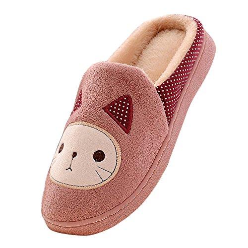 Minetom Donne Ragazze Inverno Autunno Pantofole Morbido Felpa Pantofole Cartoon Gatto Scarpe Di Cotone Rosa 38
