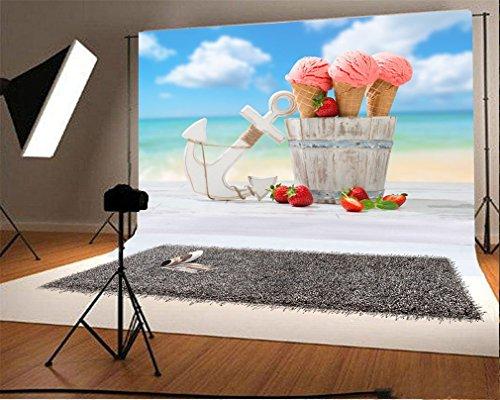 YongFoto 2,2x1,5m Vinilo Fondos Fotograficos Mar Hielo Crema Fresa Cielo Azul Nube Blanca Fondos para Fotografia Fiesta Niños Boby Boda Adulto Retrato Personal Estudio Fotográfico Accesorios