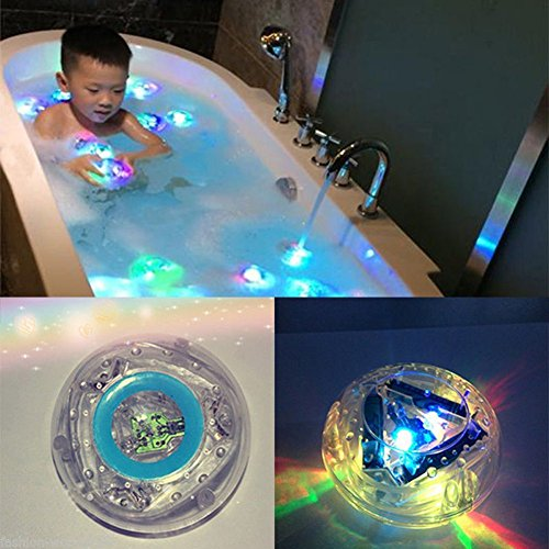 Myfei Colorful Bathroom Bath Time LED Light Toys Kids Funny Bathing Toys 6 Different Color Changing Waterproof Baby Party in the Tub