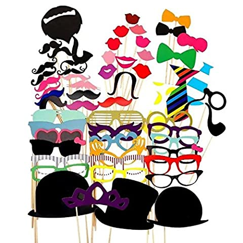 JZK® Paper Photo Booth Props Moustache Mask Bow Lips Hat On Stick Party Birthday Wedding (UK Location) (58pcs)