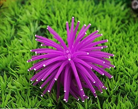 Nalmatoionme artificielle en silicone Coral Aquarium Décoration Accessoires (Violet avec pois)