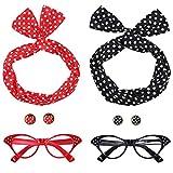 Ouinne 50er Jahre Kostüm Accessoires, Damen 1950s Zubehör Set Inklusive Haarband Polka Dots Bandana Ohrringe Katzenaugen Sonnenbrille