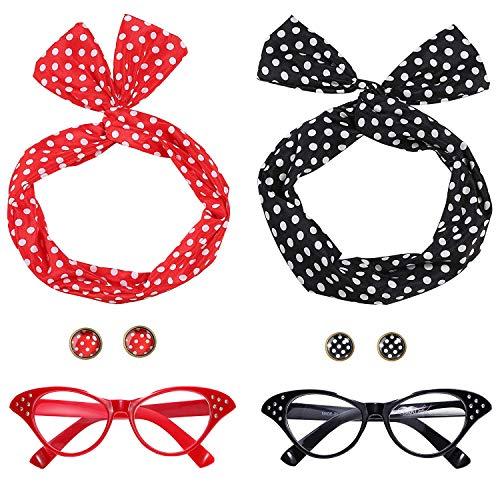 Ouinne donna anni 50 accessori costume set, ragazza fascia per capelli orecchini occhiali occhio di gatto per festa (rosso e nero