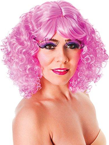 Damen Kostüm Music Party Nicki lockig Shorts falsch & KÜNSTLICHES Perücke pink