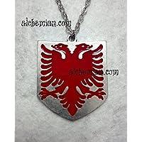 Albany collana con bandiera dell'Albania, aquila rossa a due teste