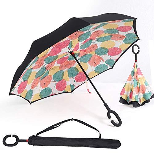 Paraguas Invertido, Paraguas Plegable, Reversible, con protección contra Rayos UV, con Mango en Forma de C Invertida. Paraguas de Doble Capa a Prueba de Viento (106 cm) (Foglia di Acero)
