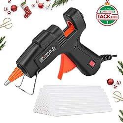 Hot Glue Gun, Tacklife GGO20AC Classic 20W Mini Hot Melt Glue Gun with Glue Sticks (100mm, 50pcs), Brass Nozzle and Robust Bracket for DIY Handcrafts and Small Repairing Jobs