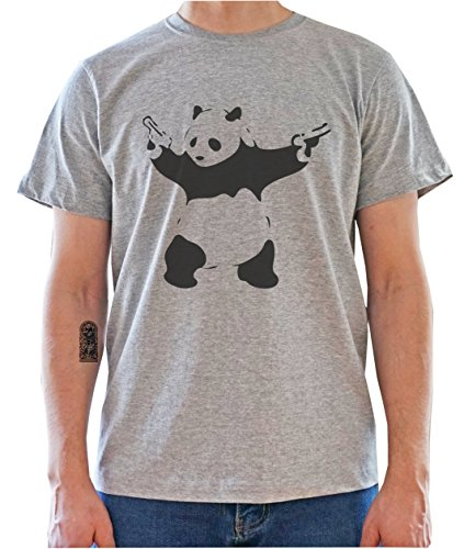PANDA WITH GUNS Funny Graphic Mens T-Shirt Gris