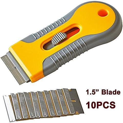 Etiqueta Ehdis® coche removedor de la hoja de afeitar Espátula Raspador de tinte de la ventana cuchillo de las herramientas de utilidad para la ventana de cristal de la capa de adhesivo Extracción + 10pcs reemplazable de doble cara de la hoja de