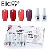Elite99 Esmalte Semipermanente UV LED 6pcs Kit Uñas de Gel Pintauñas con Base Top Coat Esmalte de Uñas Soakoff Manicura - Gift set 017