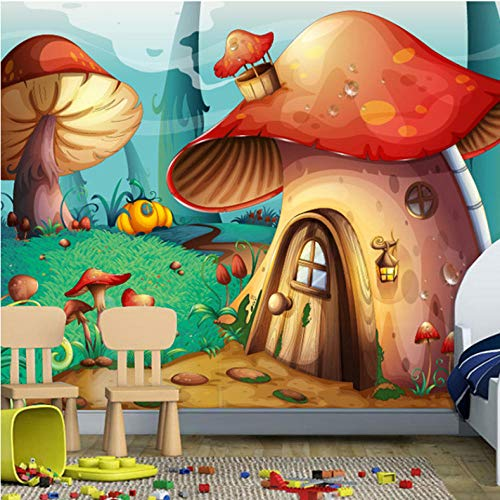 Mmneb Benutzerdefinierte Größe Foto 3D Cartoon Tier Wald Pilz Kindergarten Klassenzimmer Kinderzimmer Schlafzimmer Tapete Wandbild-150X120Cm